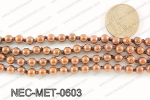 Knotted 6mm metal bead necklace NEC-MET-0603