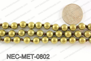 Knotted 8mm metal bead necklace NEC-MET-0802