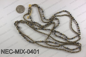 4mm hematite double strand necklace NEC-MIX-0401