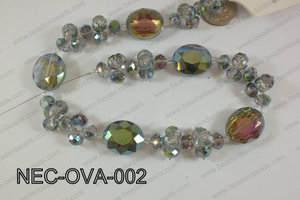 Necklace with oval crystals blue  NEC-OVA-002