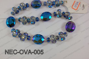 Necklace with oval crystals blue  NEC-OVA-005