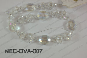 Necklace with oval crystals clear  NEC-OVA-007