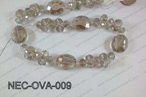 Necklace with oval crystals  grey  NEC-OVA-009