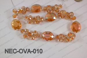 Necklace with oval crystals orange NEC-OVA-010