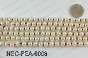 Knotted 8mm glass pearl necklace NEC-PEA-6003