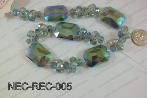 Necklace with rectangle crystals green NEC-REC-005