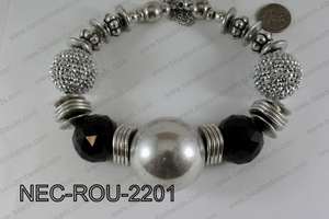 Necklace Round Silver and Black 44mmNEC-ROU-2201