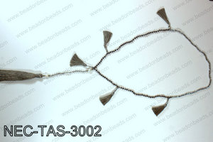 Knotted 4mm crystal necklace with tassels  NEC-TAS-3002
