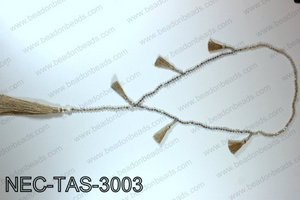 Knotted 4mm crystal necklace with tassels  NEC-TAS-3003
