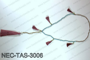 Knotted 4mm crystal necklace with tassels  NEC-TAS-3006