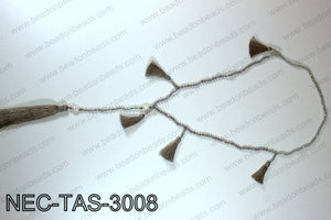 Knotted 4mm crystal necklace with tassels  NEC-TAS-3008