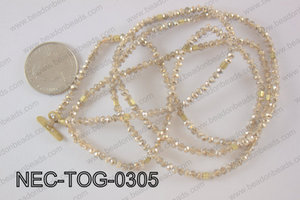 3mm crystal with toggle clasp necklace  NEC-TOG-0305