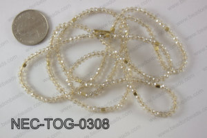 3mm crystal with toggle clasp necklace  NEC-TOG-0308