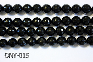 Black Onyx Faceted Round 12mm ONY-015