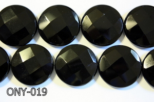 Black Onyx Faceted Coin 30mm ONY-019