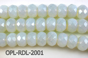 Opal Lite Faceted Rondel 13x19-13x20mm 16''  OPL-RDL-2001