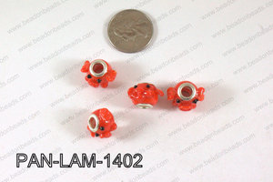 Pandora beads Lampwork 12x14mm 5mm hole pig PAN-LAM-1402