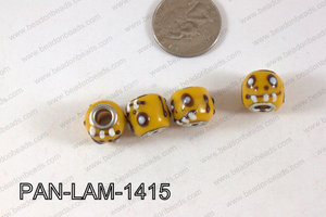 Pandora beads Lampwork 12x14mm 5mm hole face-yellow PAN-LAM-1415