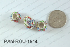 Pandora Beads 15mm 5mm hole multi/white PAN-ROU-1514