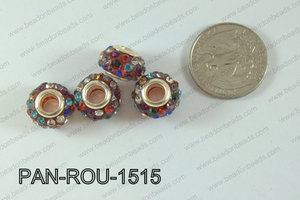 Pandora Beads 15mm 5mm hole multi/red  PAN-ROU-1515