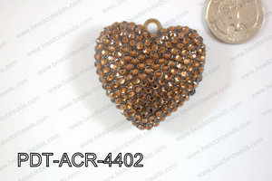 Acrylic Rhinestone Heart Pendant 44mm Brown PDT-ACR-4402