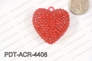 Acrylic Rhinestone Heart Pendant 44mm Red Opague PDT-ACR-4408