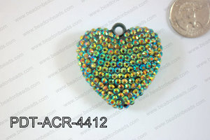 Acrylic Rhinestone Heart Pendant 44mm Dark Green PDT-ACR-4412