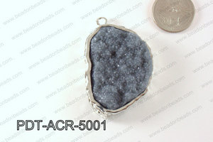 Acrylic Imitation Druzy Pendant Grey 40-50mm PDT-ACR-5001