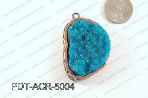 Acrylic Imitation Druzy Pendant Teal 40-50mm PDT-ACR-5004