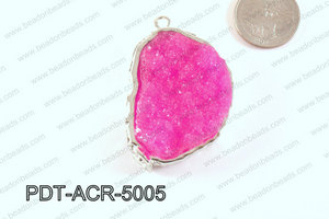 Acrylic Imitation Druzy Pendant Hot Pink 40-50mm PDT-ACR-5005