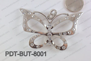 Butterfly Pendant Silver with Rhinestone 50x80mm PDT-BUT-8001