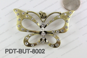 Butterfly Pendant Bronze with Rhinestone 46x60mm PDT-BUT-8002