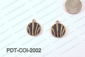Metal Coin Pendant with Black Print Bronze/Black 20mm PDT-COI-20