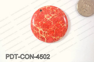 Variscite Pendant Coin Red 45mm PDT-CON-4502
