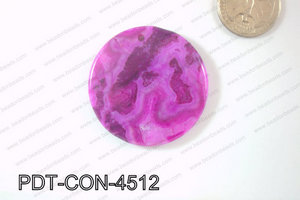 Crazy Lace Agate Pendant Coin Purple 45mm PDT-CON-4512