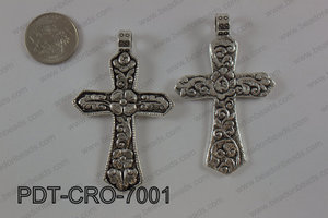 Pewter cross pendant 45X70 mm, silver PDT-CRO-7001