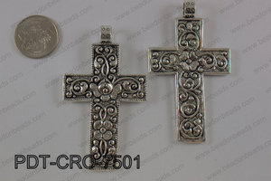 Pewter cross pendant 45x75 mm, silver PDT-CRO-7501