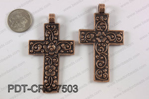Pewter cross pendant 45x75 mm, copper PDT-CRO-7503