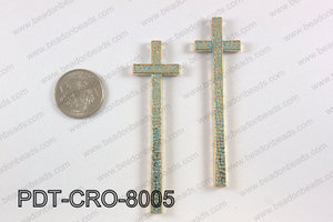 Pewter cross pendant 20X80 mm, patina finish PDT-CRO-8005