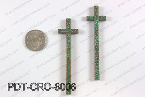 Pewter cross pendant 20X80 mm, patina finish PDT-CRO-8006