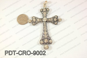 Cross pendant 90x70mm Gun metal PDT-CRO-9002