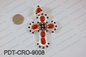 Cross pendant 90x60mm red PDT-CRO-9008