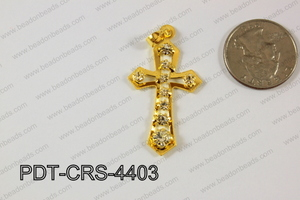 Cross Pendant 24x44mm Gold PDT-CRS-4403