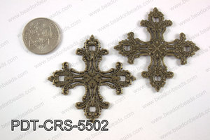 Pewter cross pendant 55x55 mm, brass PDT-CRS-5502