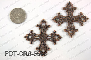 Pewter cross pendant 55x55 mm, copper PDT-CRS-5503