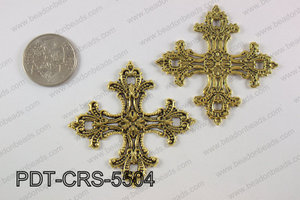 Pewter cross pendant 55x55 mm, gold PDT-CRS-5504