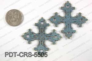 Pewter cross pendant 55x55 mm, patina finish PDT-CRS-5505