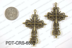 Pewter cross pendant 40x65 mm, brass PDT-CRS-6502