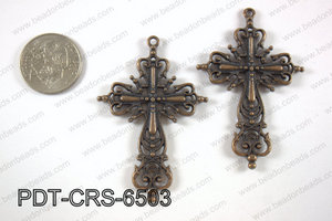 Pewter cross pendant 40x65 mm, copper PDT-CRS-6503