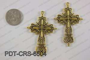 Pewter cross pendant 40x65 mm, gold PDT-CRS-6504